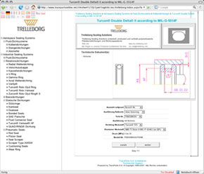The CAD data have been seamlessly integrated into the corporate design of the Trelleborg Sealing Solutions web site