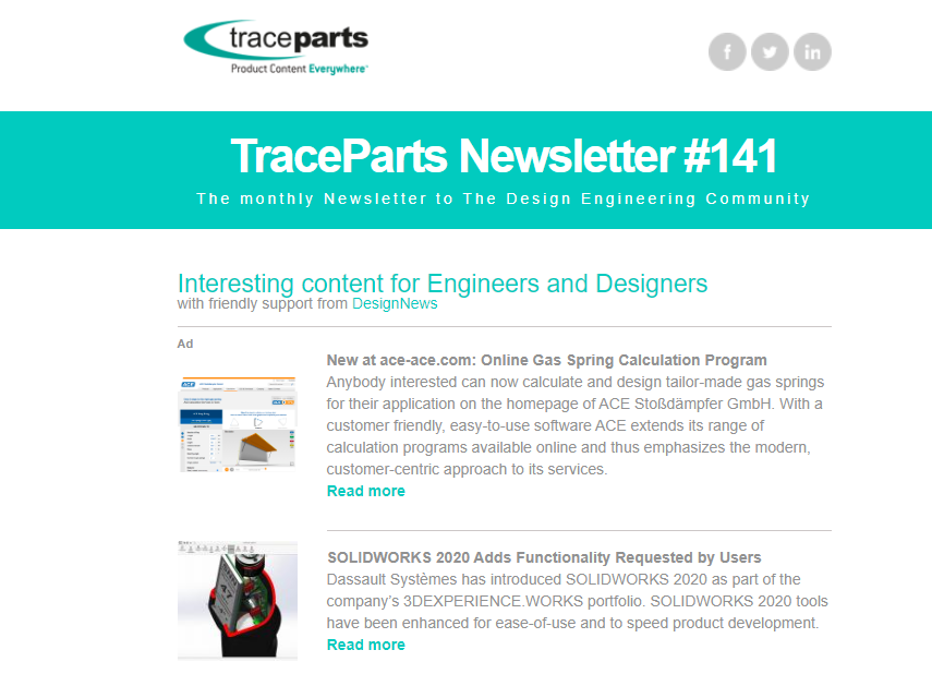 TraceParts newsletter