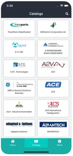TraceParts Mobile - List of catalogs